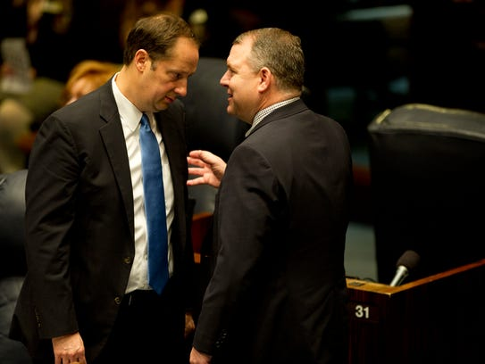 Florida Sen. Joe Negron, R-Stuart, speaks with Sen.