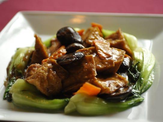 The Vegan Tofu with Chinese Shiitake Mushroom plate at Marco Polo.