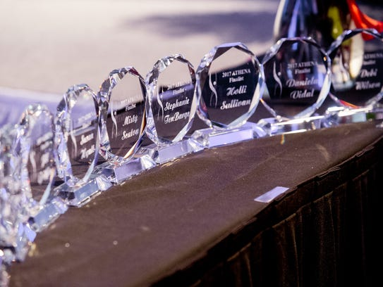 Trophies for the finalists of the 2017 ATHENA Award