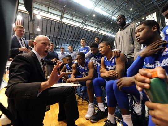 Seton Hall coach Kevin Willard talks strategy during