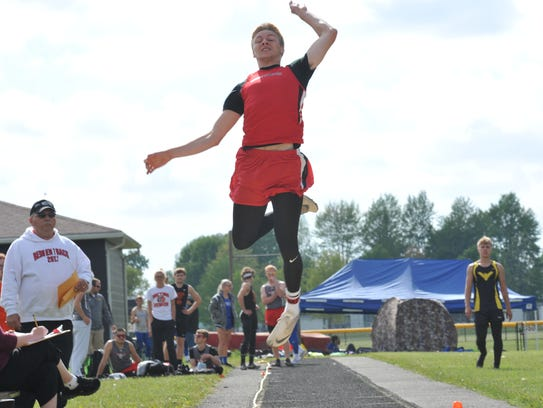 Harley Robinson took first in the long jump at the
