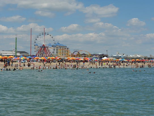A view of Ocean City from the inlet pier showing a