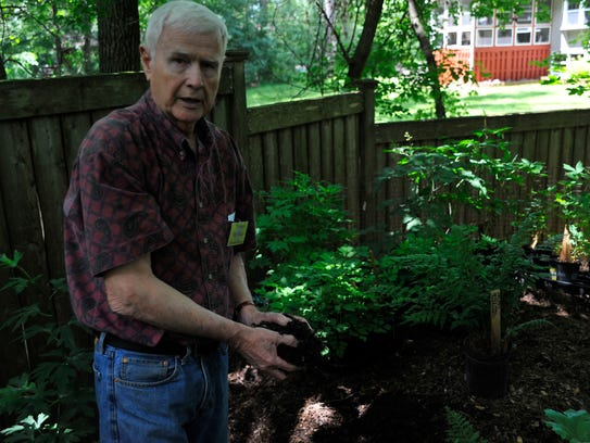 Richard McClain of Grand Rapids shows the rich soil