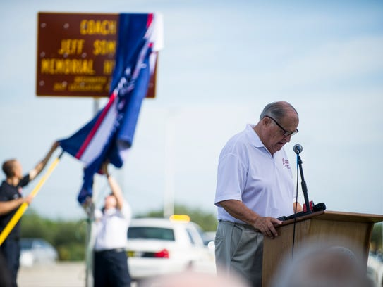 Estero Mayor Jim Boesch spoke at a dedication ceremony