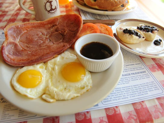 Scrumptious ham and eggs served all day at the Loveless