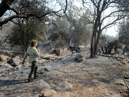Karin Dron, who lives on Gridley Road near Ojai, walks