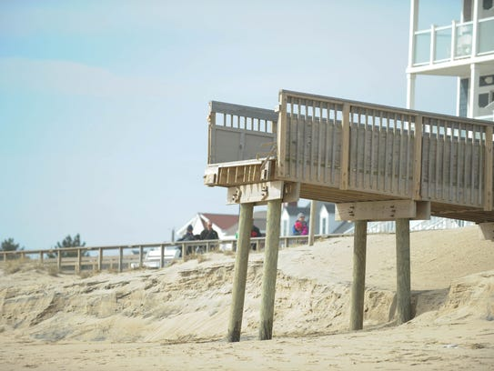 Damage to the Bethany Beach stair way after the last