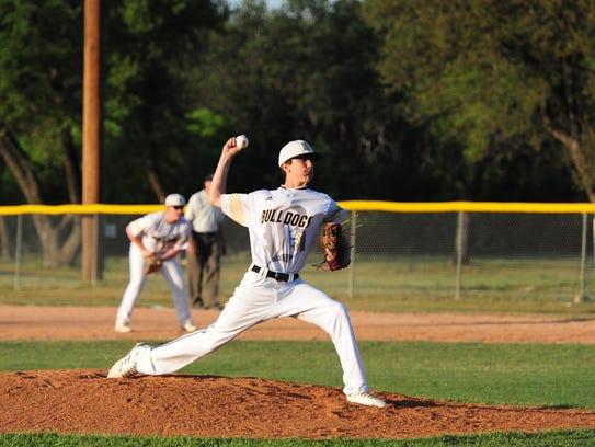Brady High School sophomore Kasen Baronet throws a pitch earlier this season.