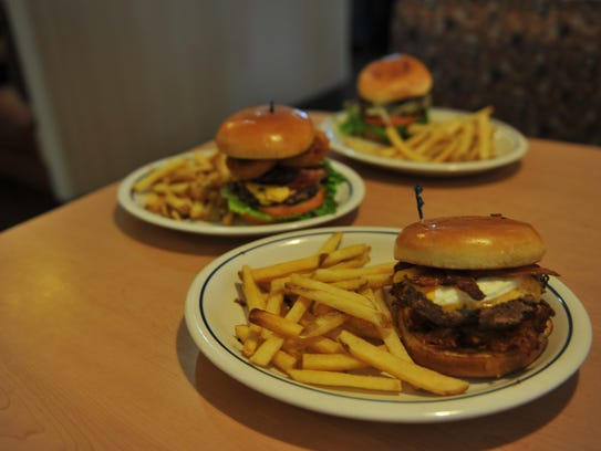 Three burgers of the seven offered at the Sioux Falls