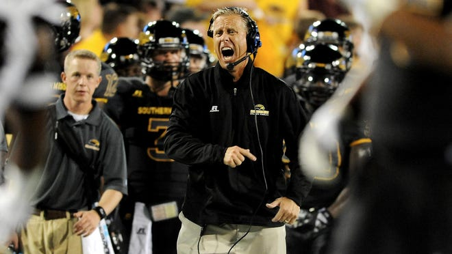 Southern Miss head coach Todd Monken reacts to a play during Saturday's 34-16 loss to Mississippi State at M.M. Roberts Stadium.