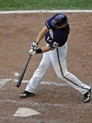 Milwaukee Brewers slugger Russell Branyan hits a two-run