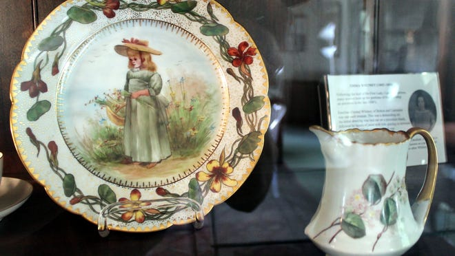 Pottery painted by Emma Whitney is only a slice of the many items on display. Whitney,with her sister ,donated the public library to Bolton,