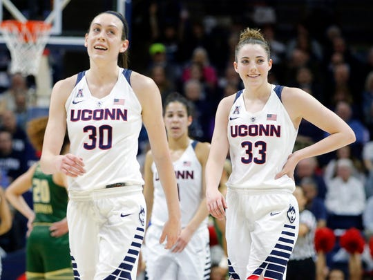 Connecticut Huskies forward Breanna Stewart (30) and
