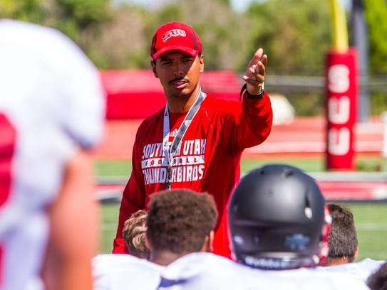 The Southern Utah football team practices on Thursday,