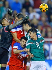The action at a USA vs. Mexico exhibition soccer game last year. According to Dr. Ann Hanley, a neurologist with NewYork-Presbyterian/Hudson Valley Hospital in Cortlandt, when someone heads a soccer ball, the impact can be as great as 70 mph.