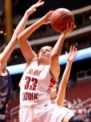 Seton Catholic Prep Kendall Krick battles to the basket