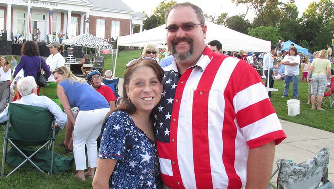District 1 County Commissioner Dwight Jones with his wife Shannon at the 2014 Fairview Independence Day Celebration at city hall.