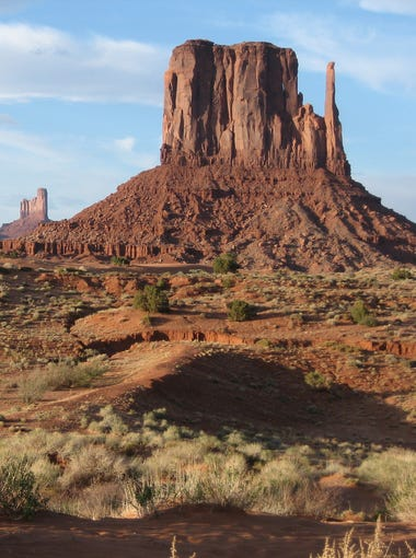 The view of West Mitten Butte and other rock formations from the Wildcat Trail in Monument Valley.