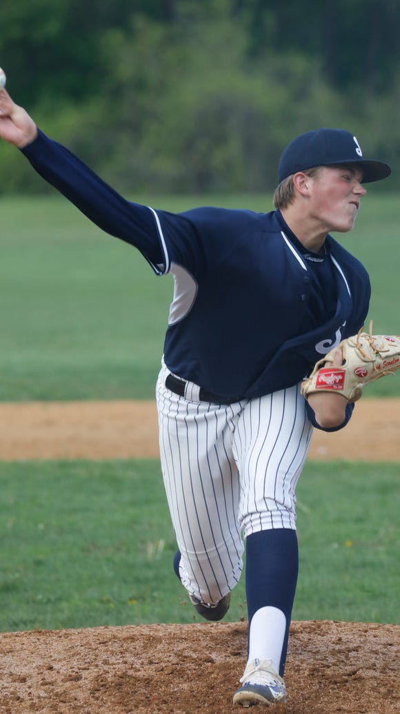 Suffern's Jack Scanlon (21) pitches against North Rockland