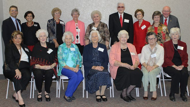 William Carey University hosted a reunion for students of Mississippi Woman's College, one of Carey's predecessor institutions, on Oct. 30 at the Hattiesburg campus. Pictured are students of Woman's College along with Tommy King, Carey president, and his wife, Sandra, standing, far right; Scott Hummel, Carey provost, standing, far left; and Barbara Hamilton, executive assistant to the president, standing, second from left.