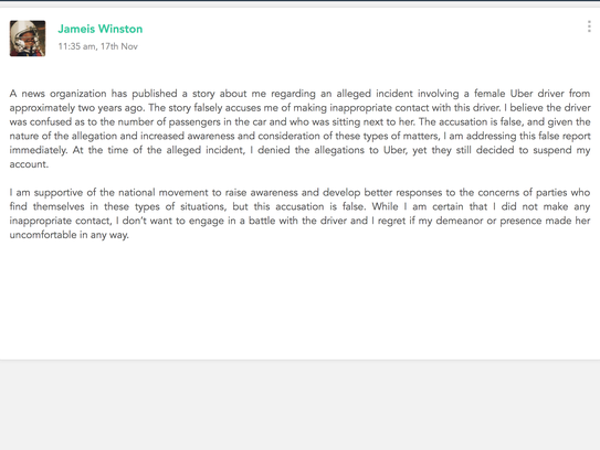 Jameis Winston posted a statement denying allegations