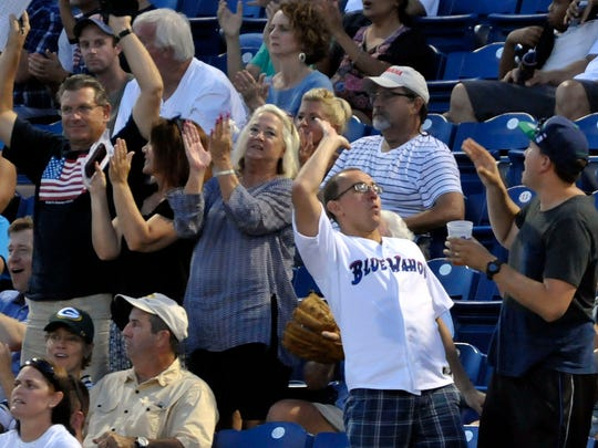Pensacola Blue Wahoos fans celebrate a home run by Zach Vincej of the Wahoos during a game against the Chattanooga Lookouts.
