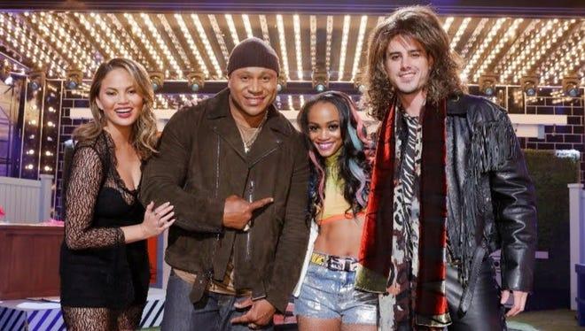 "Chrissy Teigen, LL Cool J, Rachel Lindsay and Ben Higgins are seen on the set of ""Lip Sync Battle."""