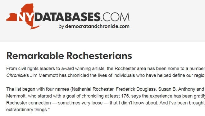 The Remarkable Rochesterians database can be found at http://rochester.nydatabases.com/database/remarkable-rochesterians.