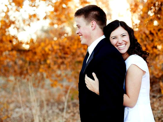 A photo of Alisa Hardy Orton, 27, and her husband Taylor Orton, 28, on their wedding day.