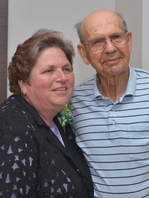 Sally Schoenike with Art Brehm, who served as the Dodge County 4-H agent for 28 years prior to Schoenike's term.