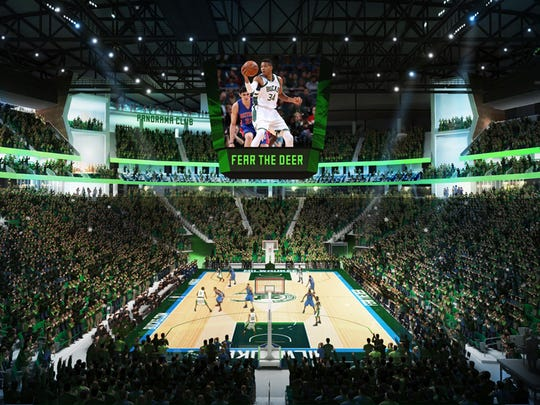 The Panorama Club in the new Milwaukee Bucks arena is seen in the upper corner just to the left of the scoreboard in this rendering. Visitors to the club will be able to see the action inside the arena and also enjoy remarkable views of downtown Milwaukee.