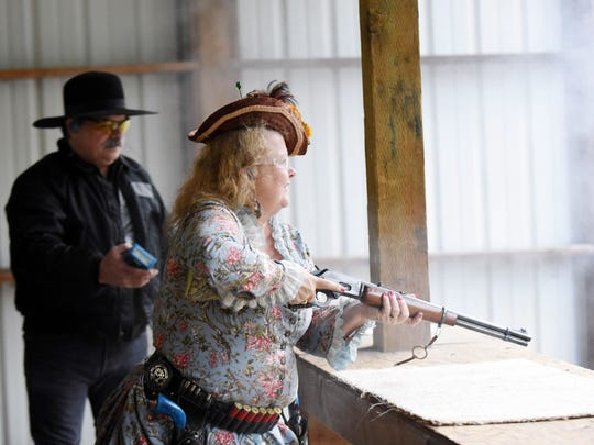 """Linda """"Tuffy Tumbleweed"""" Hite shoots during an Old West Shoot on Jan. 18 at Albany Rifle and Pistol Club."""