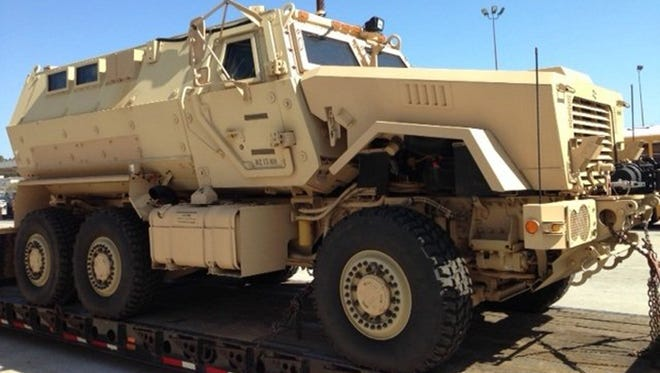 The MRAP was painted tan when it was first received by the San Diego Unified School District.