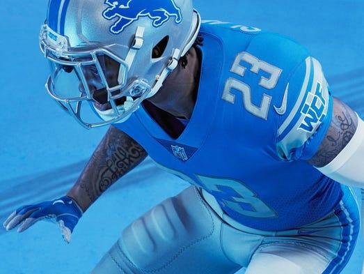 The Detroit Lions unveiled their new uniforms April