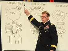 MG Stephen Fogarty, commander of the Army Cyber Center of Excellence, draws an operational diagram at TechNet Augusta.