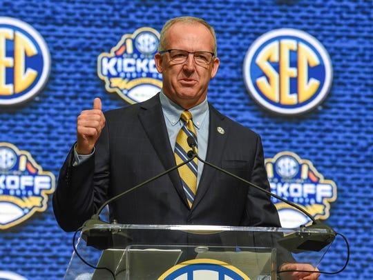 SEC commissioner Greg Sankey speaks during SEC football
