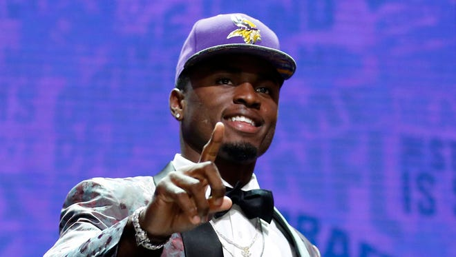 Laquon Treadwell (Mississippi) after being selected by the Minnesota Vikings as the number twenty-three overall pick in the first round of the 2016 NFL Draft at Auditorium Theatre.