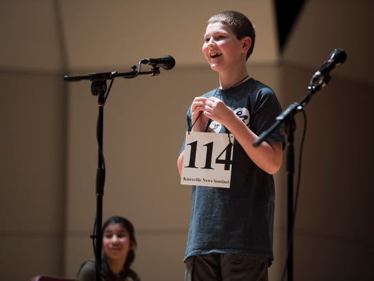 Jared Mueller, 11, smiles as he wins the News Sentinel