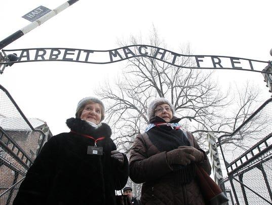 Holocaust survivors at Auschwitz