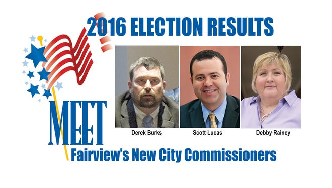 Fairview voters elected Derek Burks, Scott Lucas and Debby Rainey to fill three seats on the Fairview City Commission.