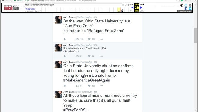 One Russian-linked Twitter account stirred up anti-Muslim sentiments after the attack at Ohio State University in November 2016. Screen capture was from an Internet archive after the account was deleted.
