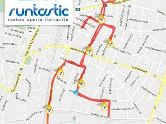 A stick figure pattern is created on a Runtastic runner's app.