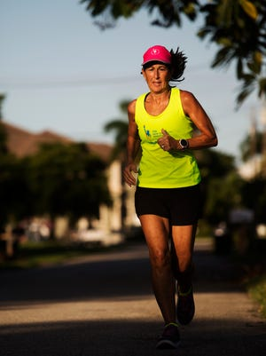 South Fort Myers resident, Maggie Miller trains on Friday.  She is preparing for the New York City Marathon and is dedicating the race to her brother-in-law Wes Andersen who had been diagnosed with cancer.   This is the second marathon she has dedicated to him.  She ran another marathon in 1999 when he was diagnosed with Leukemia. He was just declared cancer free.