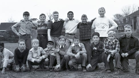 The Barnstable Grammar School soccer team is shown at the BHS field in October 1949.