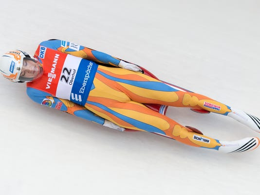 Glen Rock native Summer Britcher speeds during the women's luge World Cup race in Oberhof, Germany, earlier this month.