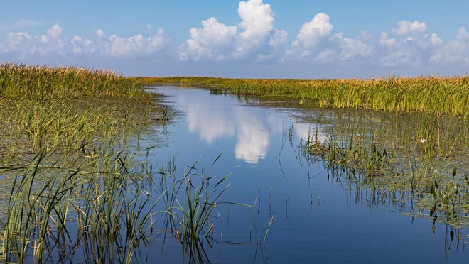 Clouds are reflected in the waters of Lake Okeechobee in 2018.