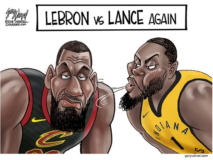 Cleveland Cavaliers Lebron James and Pacers Lance Stephenson