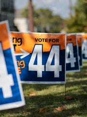 A line of Issue 44 campaign signs.