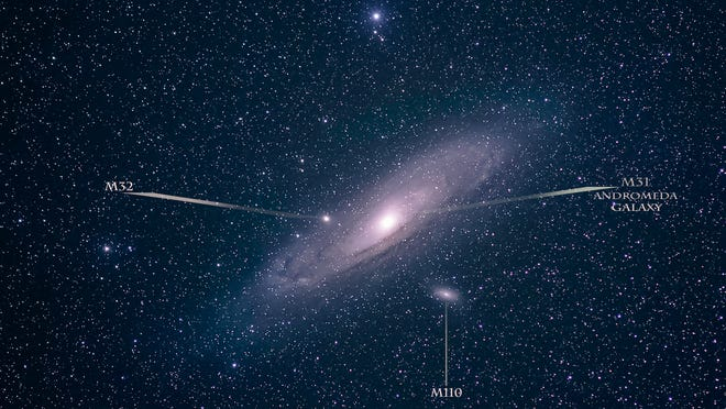 """Three Messier objects, all galaxies, appear in conjunction with the Andromeda Galaxy near the """"finish line"""" of the Messier Marathon."""
