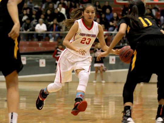 Shiprock's Tanisha Begay dribbles the ball down court